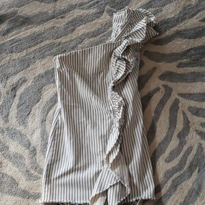 Zara Trafaluc Striped White Blue Denim One Dress M